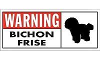 WARNING(Red) BICHON FRISE ワイドマグネットサイン:ビションフリーゼ Mサイズ