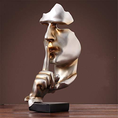 MUZIDP Abstrakte Gold Menschen skulptur Statue,Harz kreative denker statuen Vintage deko Figur skulpturen Wohnzimmer Studie büro Handwerk Statue-B 17x17x35cm(7x7x14inch)