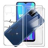 HHUAN para OPPO Realme C15 (6.5') Funda + 2 Piezas Cristal Templado, HD Protector Pantalla e Transparente Carcasa Suave Silicone Caso Bumper Cover Case - WMA16