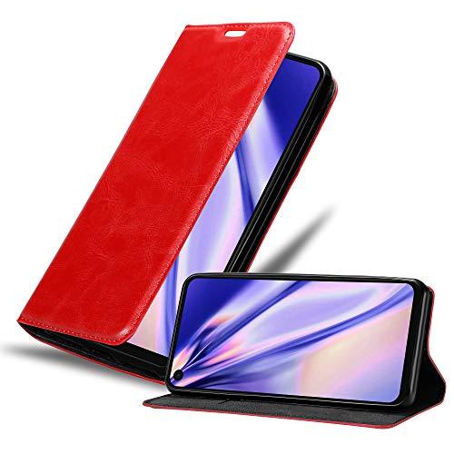 Cadorabo Hülle kompatibel mit Motorola One Vision in Apfel ROT - Handyhülle mit Magnetverschluss, Standfunktion & Kartenfach - Hülle Cover Schutzhülle Etui Tasche Book Klapp Style