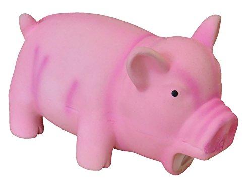 PETGARD Latex Hundespielzeug Schwein mit Grunz Geräusch - Pink Latex Pig - 15 cm