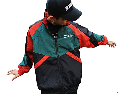 Retro Colorblocked Track Jacket Windbreaker Jacket Athletic Hip Hop Outdoor Windproof Coat(2, M)