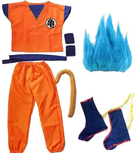 Mujeres Hombres Niños Dragon Ball Z Goku Disfraces de Cosplay Top + Pant + Belt + Tail + Wrister + Peluca Regalo del Día del Niño S-2XL