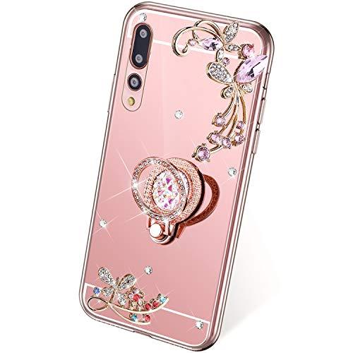 QPOLLY Kompatibel mit Huawei P20 Pro Hülle Glitzer Spiegel Handyhülle Bling Strass Diamant Schmetterling Blumen Silikon TPU mit 360 Grad Ring Ständer Mirror Schutzhülle Tasche,Roségold