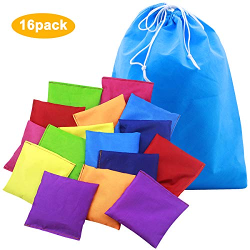 16 Pack 10 x 10cm Nylon Bean Bags, Throw Bean Bags Waterproof Sports Toss Game Bean Bag with Drawstring Bag For Games, PE School Events, Training, Coordination - 8 Colors