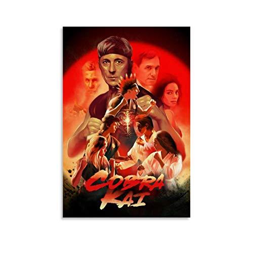 SDFWE Cobra Kai 7 Vintage Classic Movie TV Poster Wandkunst Gerahmtes Ölgemälde gedruckt auf Leinwand für Heimdekorationen Bilder zum Aufhängen für Wohnzimmer 30 x 45 cm