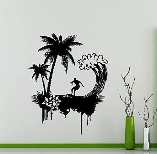 wZUN Surf Lovers Vinyl Wall Sticker Ocean Palm Tree Beach Dormitorio de los niños Escuela Baño Decoración Calcomanía 50x64cm