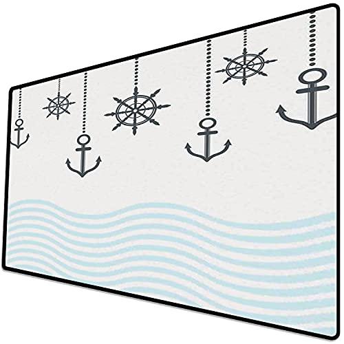 Alfombrilla de ratón (800x400x3 mm) Ancla, Anclas con Cadenas en la Parte Superior de Las Olas del océano Tema Sea Fuerte en dificult Superficie Suave y cómoda de la Alfombrilla de ratón para Juegos