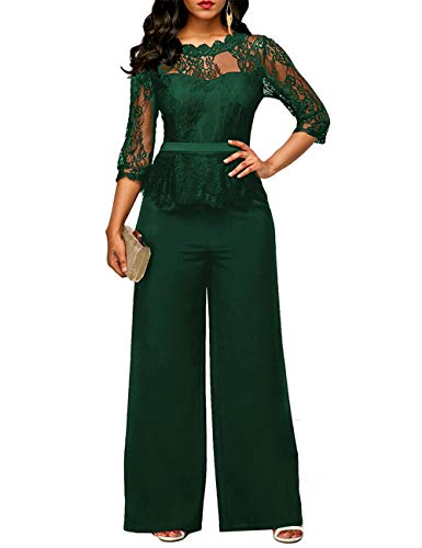 FeelinGirl Damen Jumpsuit Elegant Spitze Jumpsuit mit 1/2 Ärmel Bluse Overall Stilvoll Hohe Taille Weitem Bein Langhose Einteiler Hosenanzug Party Abendmode, Grün, XL (EU 42)