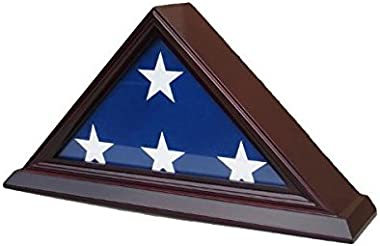 Small Flag Display Case Stand for 3'X5' Home/Flown Flag (Not for Casket Draped Flag), FC35-CHE