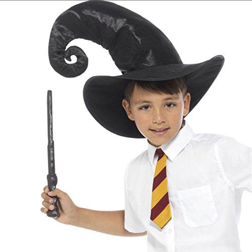 Amakando Magier Kinderkostüm mit Hut, Krawatte und Zauberstab Harry Potter Verkleidung Zauberlehrling Outfit Zauberhut Zauberer Kostüm Set für Kinder