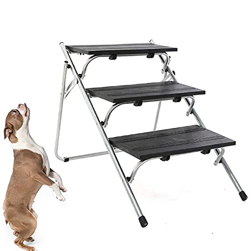 NXL Escaleras Plegables para Mascotas/Escalones De Rampa para Perros para Perros Pequeños Y Grandes Ligero, Portátil, Ideal para Automóviles, SUV Y Camas, Escaleras Plegables De 3 Escalones