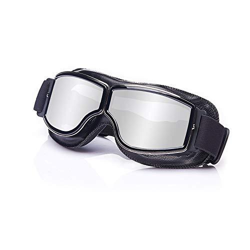 Galatée Motorradbrille Ski Motorrad Roller Brille Retro Fliegerbrille Helmbrille Winddichte Sonnenbrille (Schwarze Rahmen-Silber Linse)