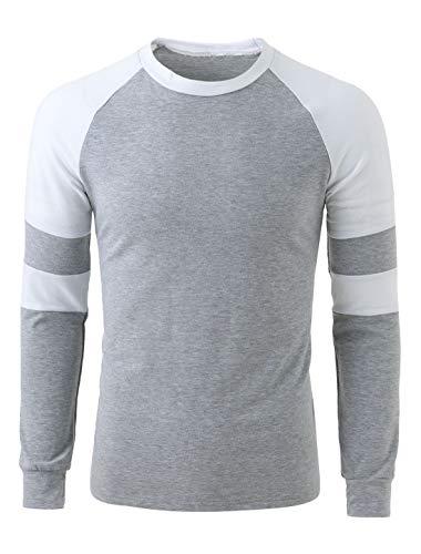 Sourcingmap Homme Encolure Torsadée Couleur Contrastée Raglan Manches T-Shirt Gris Clair 40