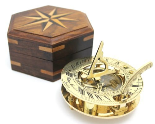 Nautical Solid Brass Round Sundial Compass with Design Rosewood Box, Brass