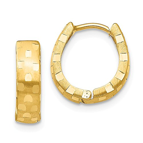 Mia Diamonds 14k Yellow Gold Diamond-Cut 4mm Patterned Hinged Hoop Earrings