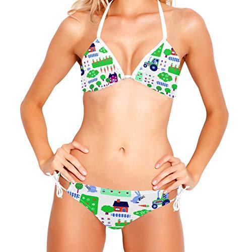 Bikinis Conjuntos para Mujer Conejo y Granja Traje de Baño Playa XS-XXL