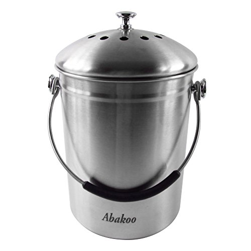 Best Buy! Abakoo Compost Bin 304 Stainless Steel Kitchen Composter Waste Pail Indoor Countertop Kitc...