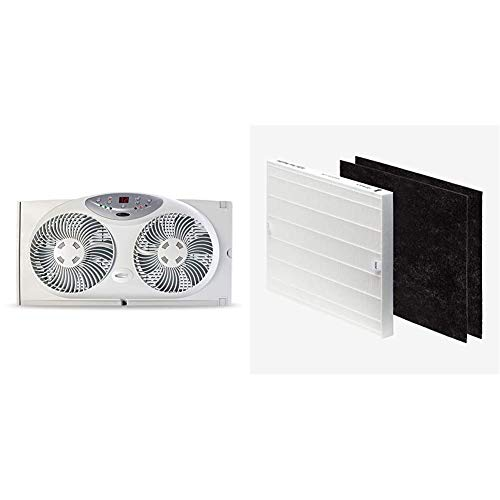 Bionaire Window Fan with Twin 8.5-Inch Reversible Airflow Blades and Remote Control, White & Coway AP-1512HH-FP AP-1512HH Replacement filter