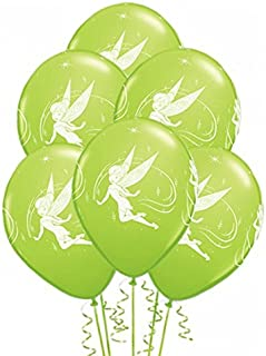 بالونات كوالاتكس تينكر بيل المستديرة المطبوعة من اللاتكس 6 قطع، مقاس 12 بوصة، لون أخضر ليموني