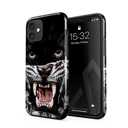BURGA Hülle Kompatibel mit iPhone 12 - Lethal Hunter Savage Wild Panther Vs Tiger Robustes Stoßfestes Doppellagiges Hardcase + Silikon Handyhülle Hülle Cover
