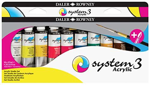 Set de Estudio Pintura Acrílica DALER ROWNEY System3, con 10 Tubos de Colores Surtidos (10 x 37 ml)
