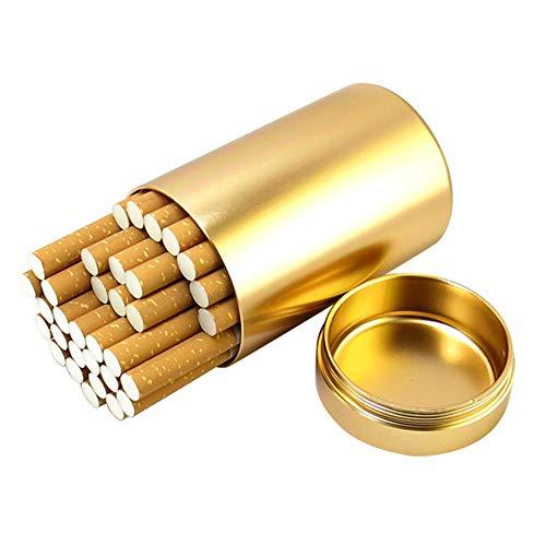YXZN Edelstahl Zigarettenetui Männer Frauen Portable Große Kapazität Feuchtigkeits Zigarettenschachtel für 30 Zigaretten,Gold,92X55MM
