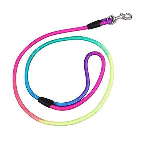 KDKDA Cinturón de Correo del Animal doméstico del arnés de la Correa de Color del Arco Iris del Perro casero de Nylon Slip Lazo Ajustable Plomo