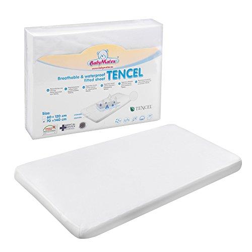 BabyMatex Tencel Spannbetttuch für Wiege, Krippe und Kinderbetten. Wasserdichtes, Hypoallergenes Spannbettlaken Cover für Kindermatratzen, Weiß (60 x 120 cm)