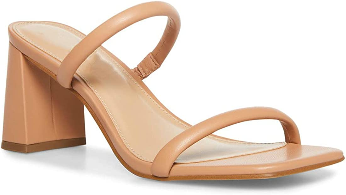 Women's Heeled Sandals Fashion Slides Square Toe Double Band Low Block Heel Mules