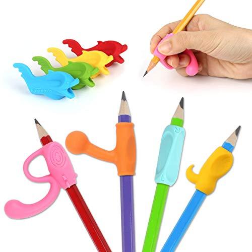 Pencil Grips, Firesara Porte-stylo ergonomique original Griffe Aide Posture d'écriture correcte en 4 semaines pour les enfants Maternelle Adultes Besoins spéciaux Righties ou gauchers (8 PCS)