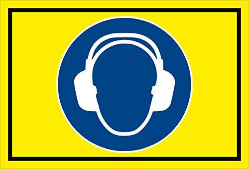 Stickers schild - Bodstekens - Gehoorbescherming gebruiken - komt overeen met DIN ISO 7010/ASR A1.3 - S00361-005-C +++ in 20 varianten verkrijgbaar