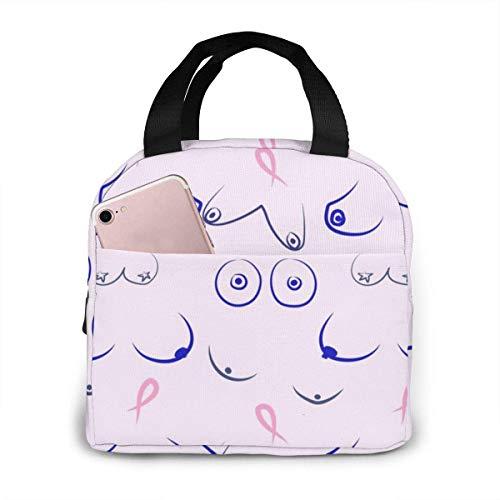 Patrones de pechos de mujer. Bolsa de almuerzo aislada portátil térmica Bento impermeable bolsa de almuerzo con bolsillos asas duraderas para el trabajo, la escuela, viajes
