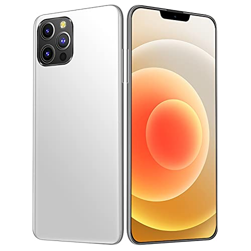 HUALUDA I12Pro Max Mobile Phones, Smartphones with Face Unlocked, 6.7 inches HD-Screen, 8GB RAM+256GB ROM, 5000 mAh Big Battery Cell Phone Phones (Color : Silver)