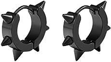 Goth Spike Earring Male Hoop Earrings Gothic Cool Guys Grunge Mens Punk Piercing Jewelry Rock Clothing Men Black Hoops Earings Edgy Man Earrings