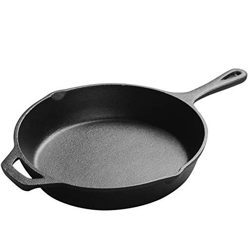 HOUHOU Sin Recubrimiento Menos Grasa Humo Flat Bottom Antiadherente Sartén Hogar del Huevo Frito Steak Antiadherente Sartén Cacerola (Color : Black, Size : 30cm)