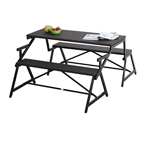 Outsunny 2-In-1 Convertible Rattan Wicker Picnic Table & Garden Bench - Eoorpodspfowps