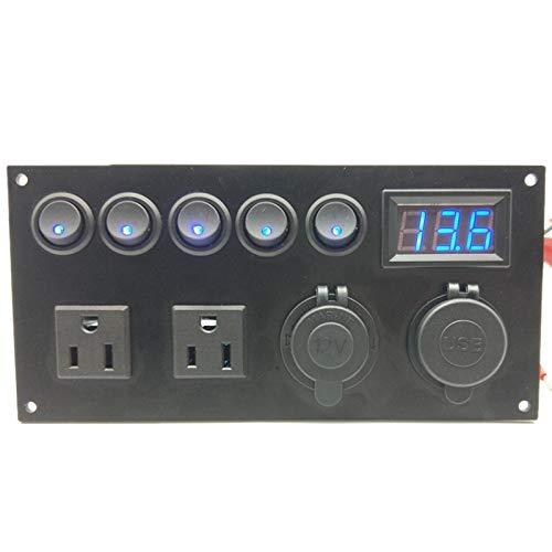 Ymhan Panel de Interruptor de Barco Marino LED 12V 24V 5 GAND ON-Apagado Panel de Palanca USB Cargador de Corriente Voltímetro Voltímetro USB Enchufe Toma de Corriente
