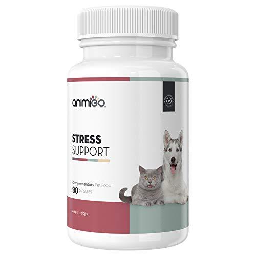 Animigo Suplemento Antiestrés para Gatos y Perros | Situaciones de Estres y Ansiedad | para Viajar, Separaciones y Ruidos Fuertes | No Somnífero | con Manzanilla y Vitamina B | 90 Cápsulas