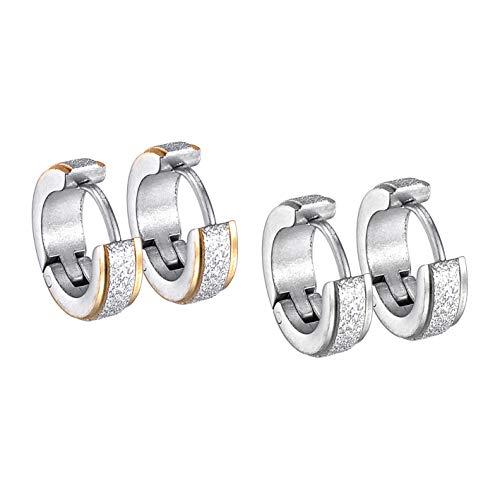 2 pares de pendientes redondos de acero inoxidable para mujeres y hombres