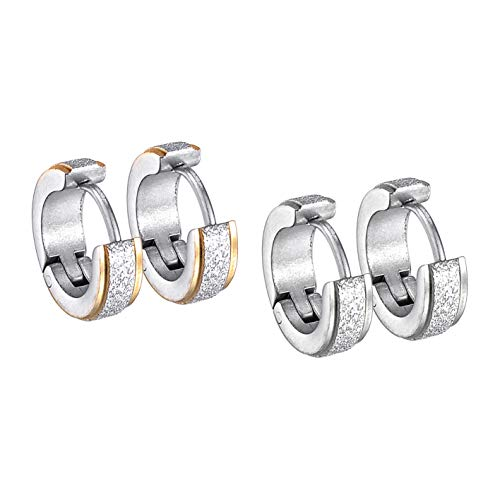 2 pares de pendientes de aro redondos de acero inoxidable para mujeres y hombres