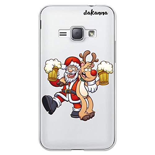dakanna Custodia Compatibili con [Samsung Galaxy J1 (2016)] Sfondo Trasparente con Disegni [Babbo Natale e Renne bevono Birra] in Morbida Silicone TPU Flessibile, Shell Case Cover in Gel
