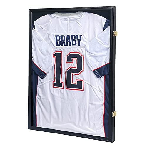 KCRasan - Caja de sombra con marco para jersey, marco grande con cerradura con protección UV para béisbol, baloncesto, fútbol,...