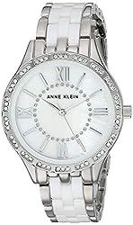Silver Swarovski Crystal Accented Ceramic Bracelet Watch