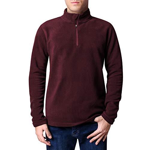CoolDry Men's Comfort Anti-Pilling Micro Fleece 1/4-Zip Soft Pullover (Maroon, L)