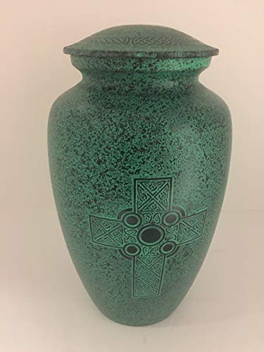 G&DI INC. Celtic Cross Green Cremation Urn Adult - Excellent Funeral Container - Urns for Human Ashes, Burial Classic Hand Crafted Metal Keepsake, Memorials Urns with Hands Engraving, Decorative Urn