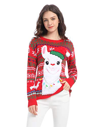 v28 Ugly Christmas Sweater for Women Vintage Funny Merry Tunic Knit Sweaters(M, Happy Alpaca Red)