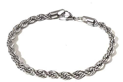 Mavijewel Pulsera de hombre trenzada de acero color plata #Idea regalo # Caja Incluida # Emocional# Charms # Made in Italy # Envío gratuito