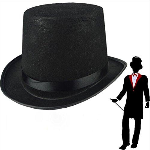 Amosfun Sombrero de Bowler Negro Sombrero de Mago Accesorio de Disfraz para Hombres Adultos Disfraces de Halloween