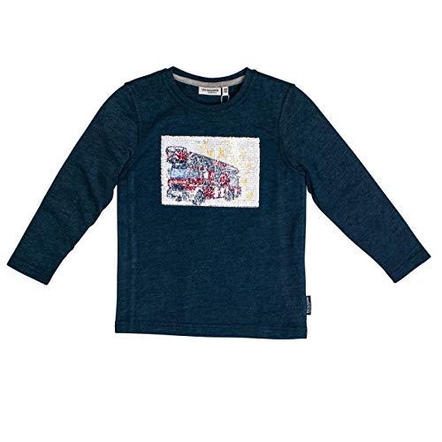Salt & Pepper Jungen Fire Zone Wendepailletten Langarmshirt, Blau (Dark Blue Melange 492), 104 (Herstellergröße: 104/110)
